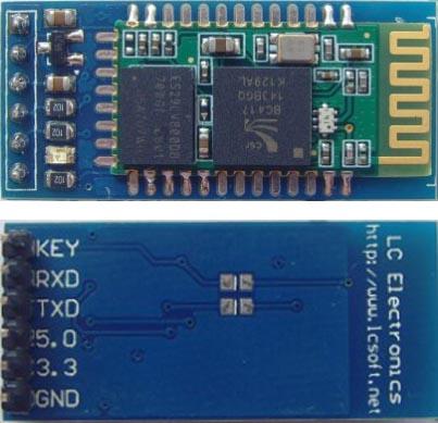 Внешний вид Bluetooth-модуля HC-05, установленного на переходную плату с регулятором напряжения и разъемом для подключения.