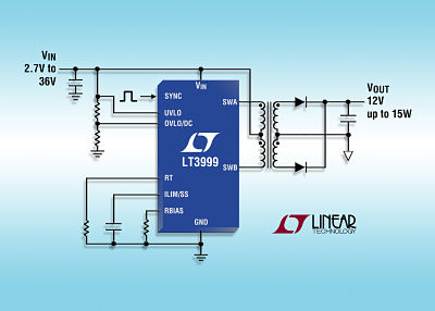 36V Monolithic 1A Push-Pull DC/DC Transformer Driver with Programmable Duty Cycle Control