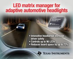 TI introduces industry's first fully integrated LED matrix manager for adaptive automotive headlight systems