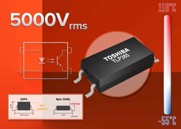 Toshiba Introduces New Low-Height Transistor Output Photocoupler