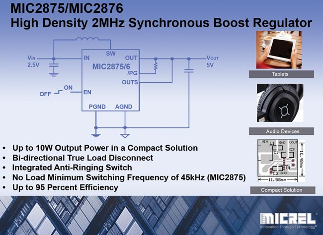 Micrel's High Density Synchronous Boost Converter Delivers Up to 10W Output Power in 2mm x 2mm x 0.55mm Package