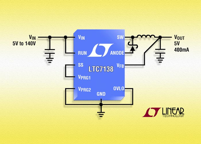 Linear Technology announces 140 V, 400 mA StepDown Converter with Only 12 μA Quiescent Current