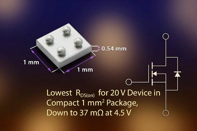 New Vishay Intertechnology 20 V Chipscale MOSFET Saves Space, Extends Battery Usage in Ultraportable Applications