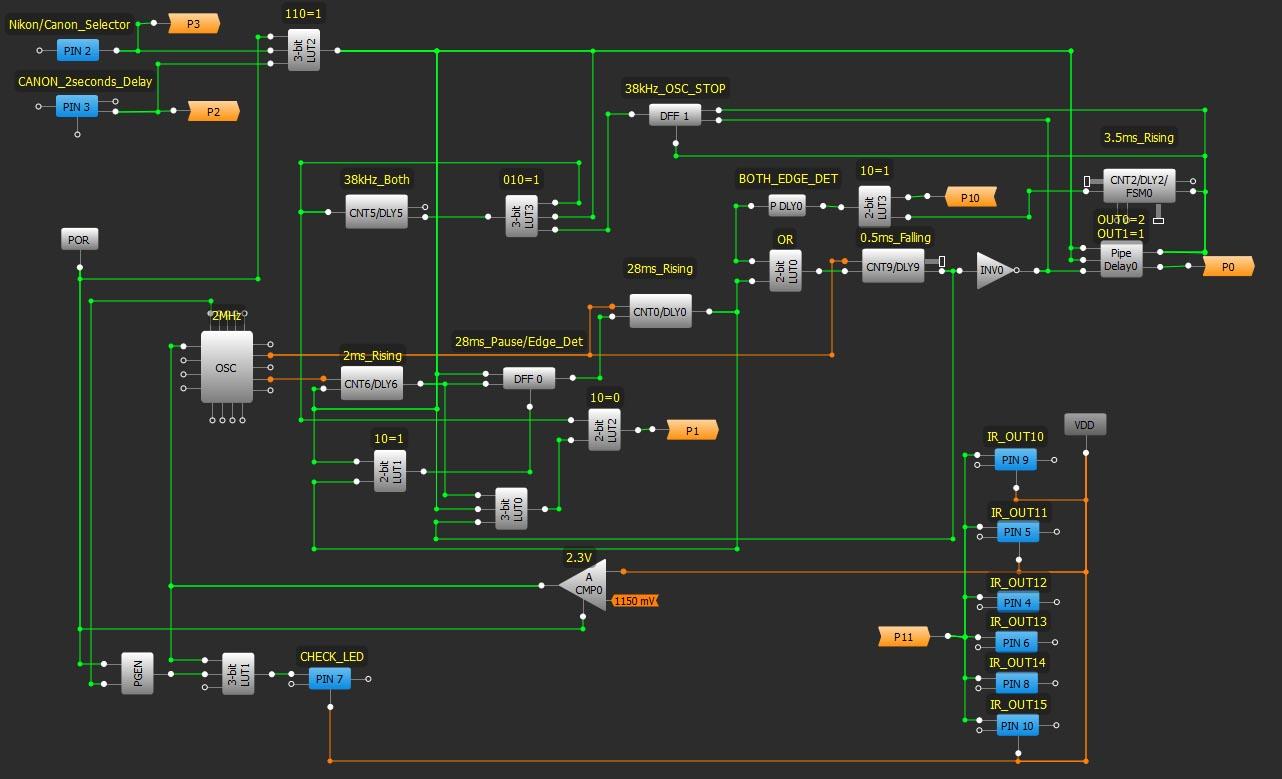 Схема в окне GreenPAK4 Designer