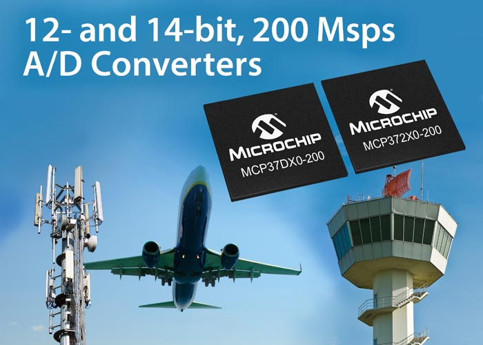 High-Speed A/D Converters from Microchip Feature High Integration Low-Power 14-/12-bit, 200 Msps Stand-Alone ADCs