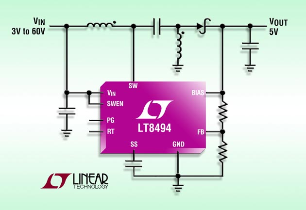 2A, 70V SEPIC/Boost DC/DC Converter with 7μA Quiescent Current