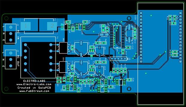 Digital AC Watt Meter PCB Layout in SoloPCB.