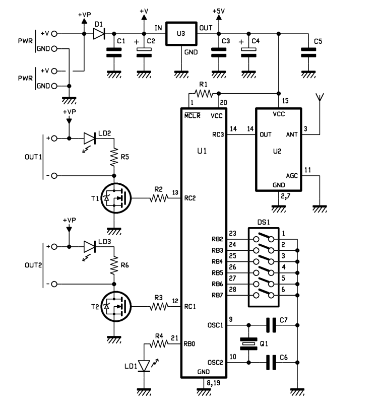 The perfect Remote, Programmable, Controller for interactive LED strips. Schematic Diagram