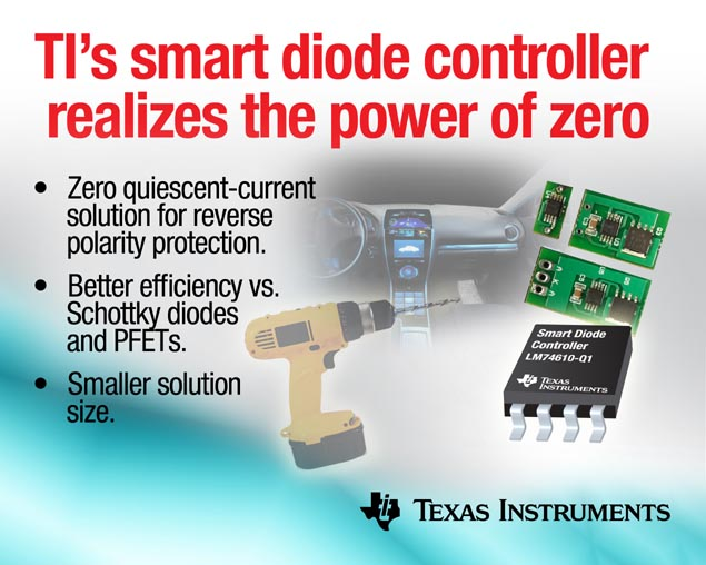 TI's smart diode controller realizes the power of zero