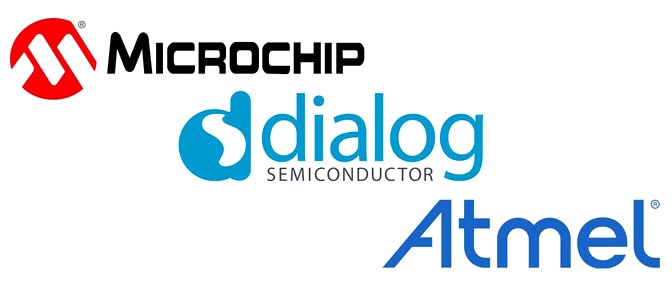 Microchip Technology, Dialog Semiconductor, Atmel Logos