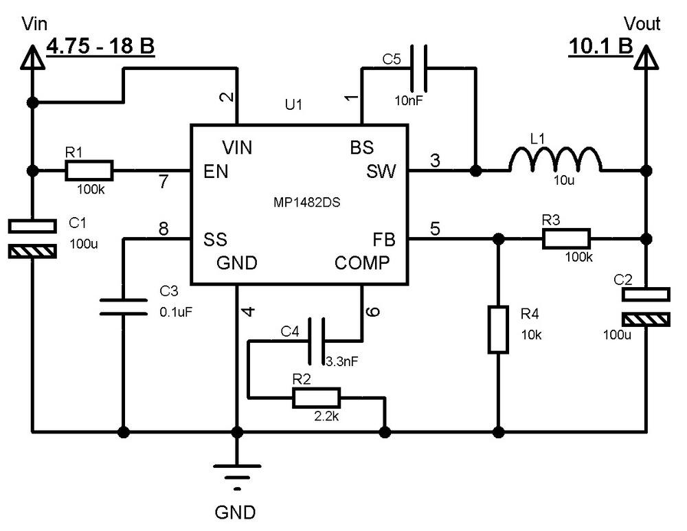 Принципиальная схема DC-DC преобразователя для питания светодиодной подсветки ЖК дисплея