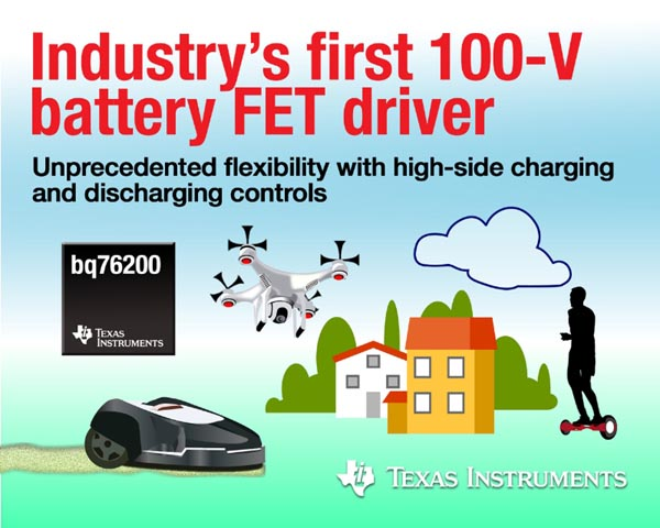 TI drives high-voltage batteries with industry's first 100-V high-side FET driver