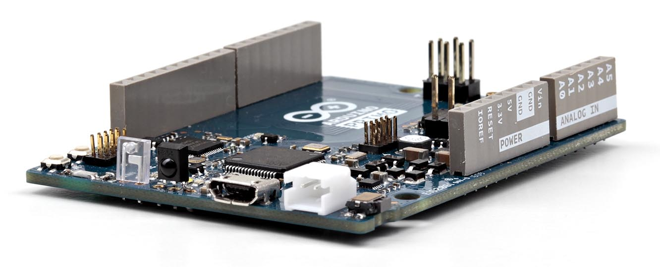 Arduino Primo base board features native Bluetooth low energy wireless connectivity and NFC Touch-to-Pair using Nordic Semiconductor nRF52832 SoCs