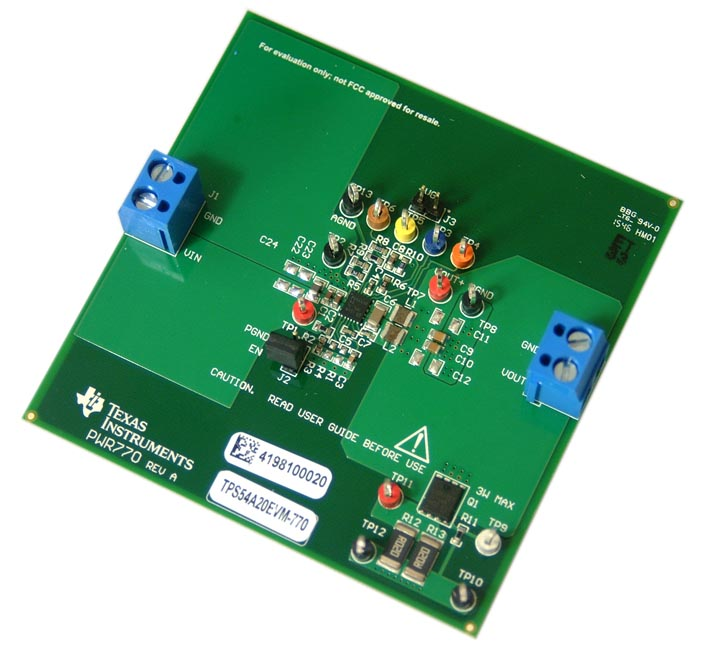 Оценочный модуль синхронного двухфазного преобразователя TPS54A20EVM-770