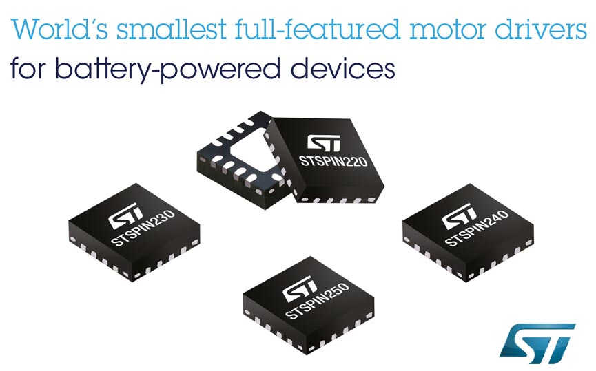 STMicroelectronics Reveals World's Smallest Motor Drivers to Streamline Design and Boost Runtime of Battery-Powered Devices for the Internet of Things