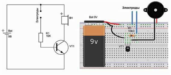 Сигнализатор протечек на основе схемы из обучающего набора «Основы схемотехники» NR03