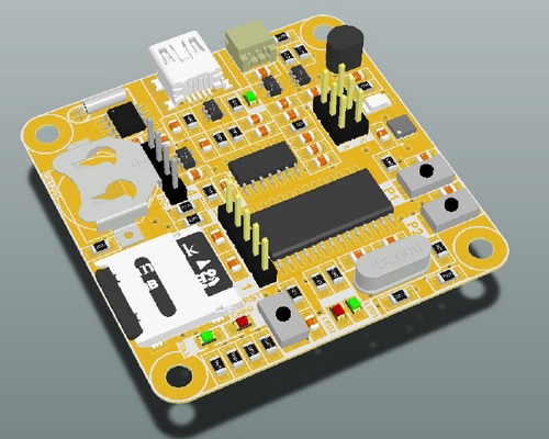 3D-previews image from Altium for Datalogger PCB.
