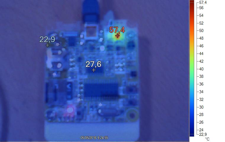 Datalogger PCB temperature when charging the battery.