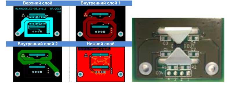 Пример измерения тока печатного проводника с помощью MLX91208