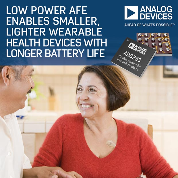 Analog Devices' Low Power AFE Enables Smaller, Lighter Wearable Health Devices with Longer Battery Life
