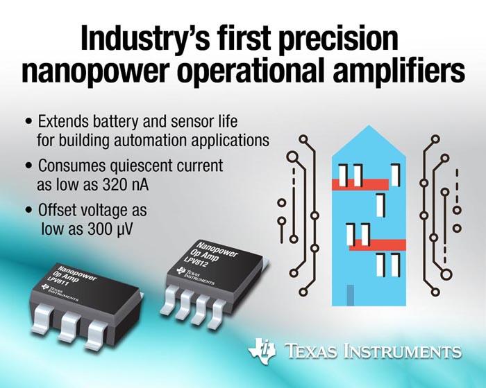 Texas Instruments анонсировала первые в отрасли прецизионные ультра маломощные операционные усилители