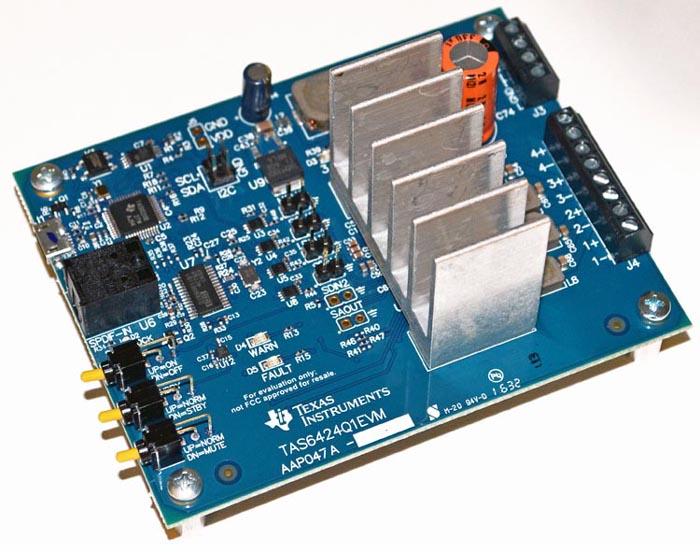 TAS6424Q1EVM 2.1 MHz 4 Ch Digital Input Class-D Audio Amplifier w/I2C Diagnostics & Protection Evaluation Module Board
