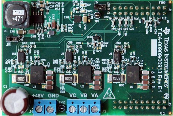 TIDA-00909/00913 48V 3-Phase Inverter with Shunt-based In-line Motor Phase Current Sensing Reference Design Board