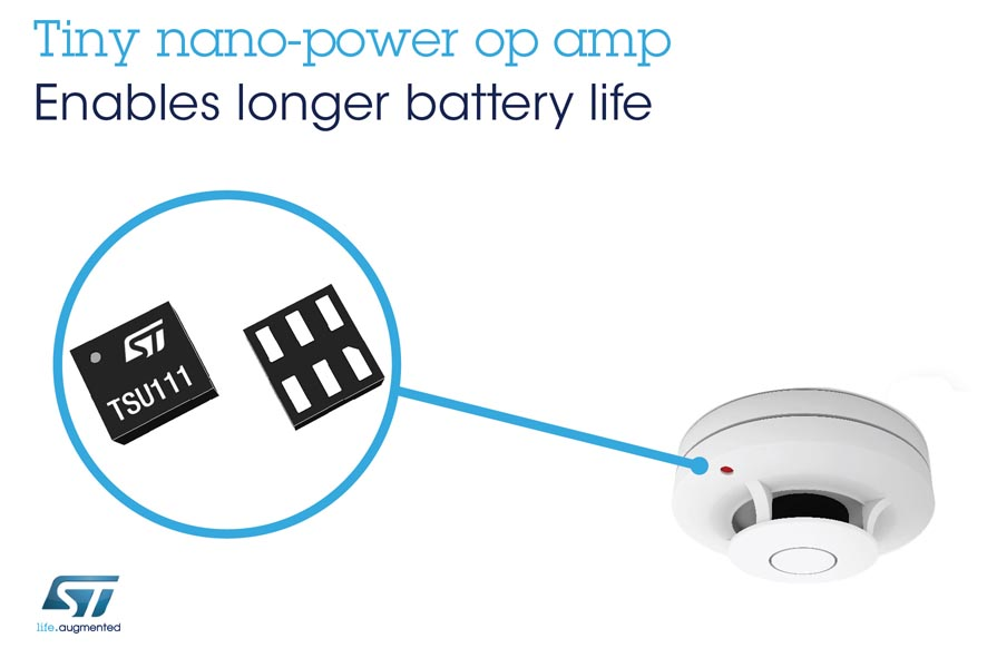 Tiny Nano-Power Op Amp from STMicroelectronics Boosts Sensing Accuracy, Consumes Negligible Space and Power