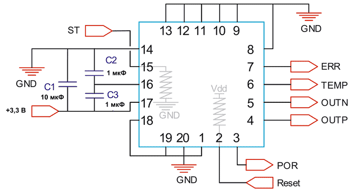 Схема включения акселерометров TS1000T