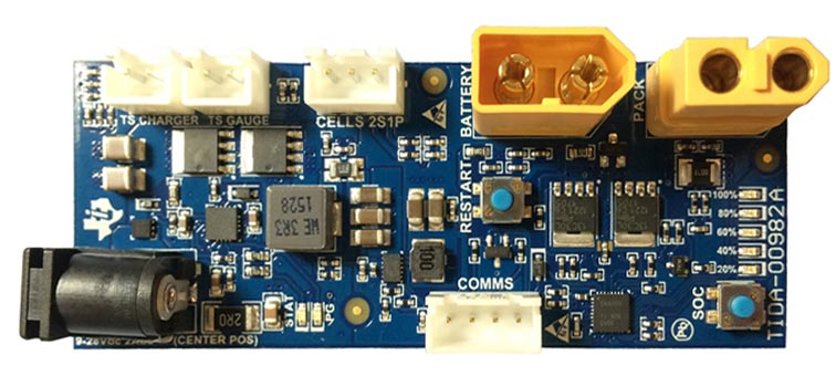 TIDA-00982 Non-Military Drone, Robot, or RC 2S1P Battery Management Solution Reference Design