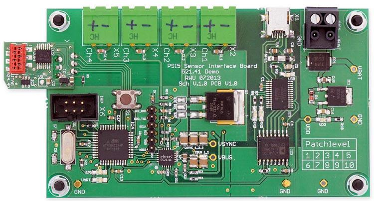 Демонстрационная плата 4-канального многорежимного приемопередатчика PSI5 на основе микросхемы E521.41