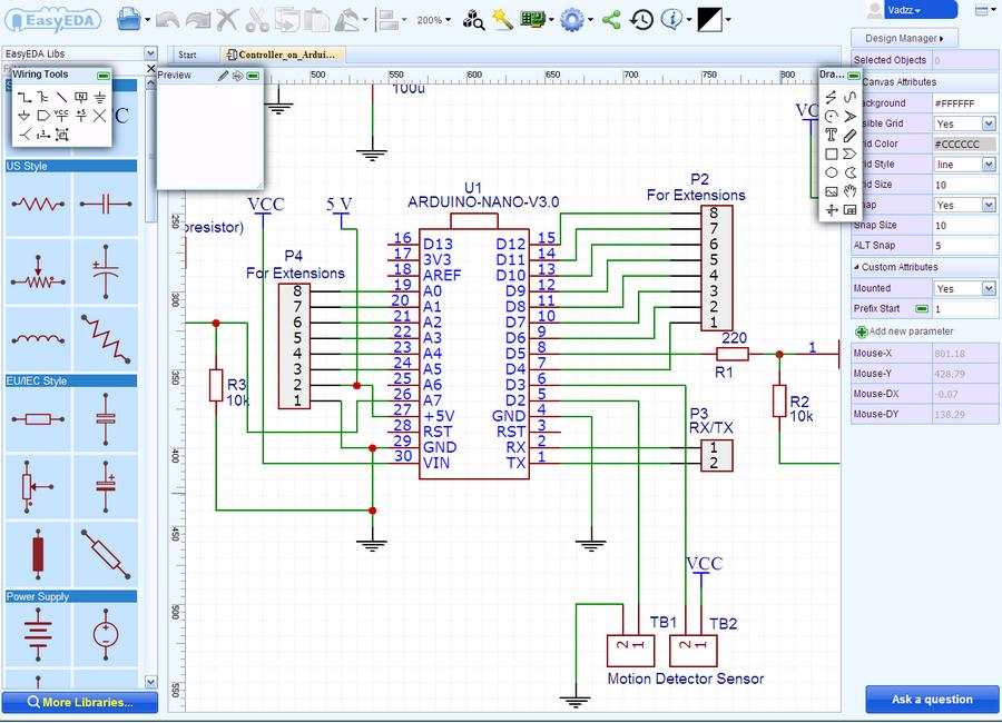 Schematic Diagram development in online EasyEDA editor.