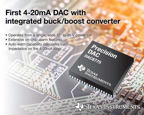 Texas Instruments представляет первый в отрасли ЦАП с выходом 4-20 мА и интегрированным преобразователем напряжения