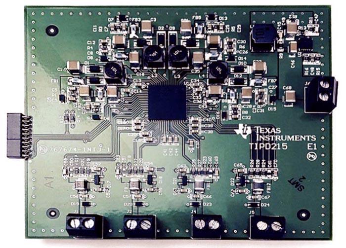 TIPD215 - базовый проект модуля четырехканального преобразователя с аналоговым выходом и адаптивным управлением питанием, потребляющий менее 1 Вт
