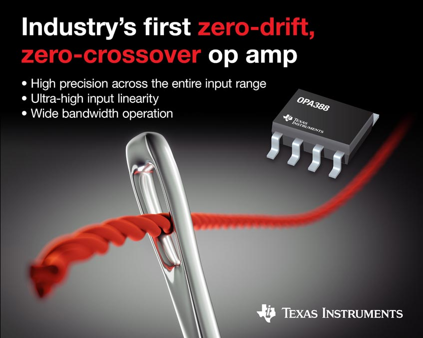 Achieve true precision with the industry's first zero-drift, zero-crossover operational amplifier