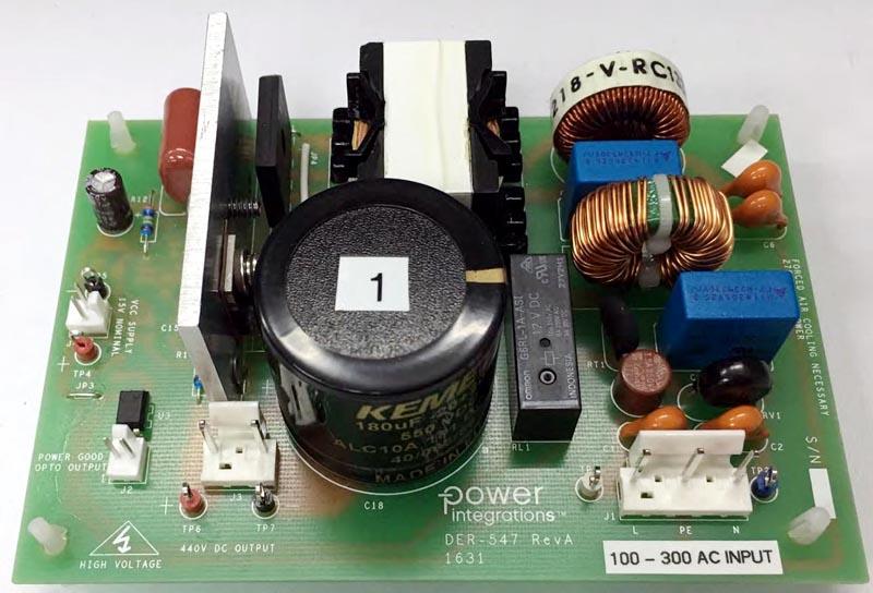 DER-547 - 275 W PFC Front-End Using HiperPFSM-4 PFS7627H. 100 VAC - 300 VAC Input; 440 VDC Output.