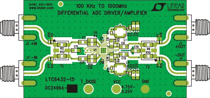 DC2496A - 100 kHz to 1000 MHz Differential ADC Driver/IF/RF Amplifier