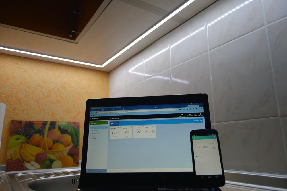 Ñontroller for automatic lighting of the working area in the kitchen