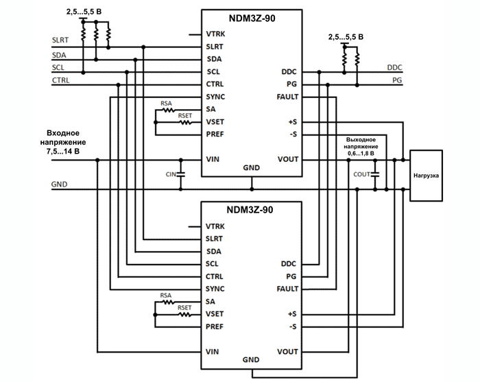 Типовая схема параллельного включения модулей NDM3Z-90