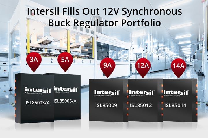 Intersil расширяет семейство 12-вольтовых синхронных понижающих стабилизаторов