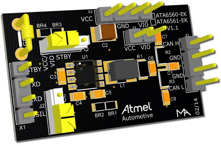 The ATA6560-EK, ATA6561-EK development board
