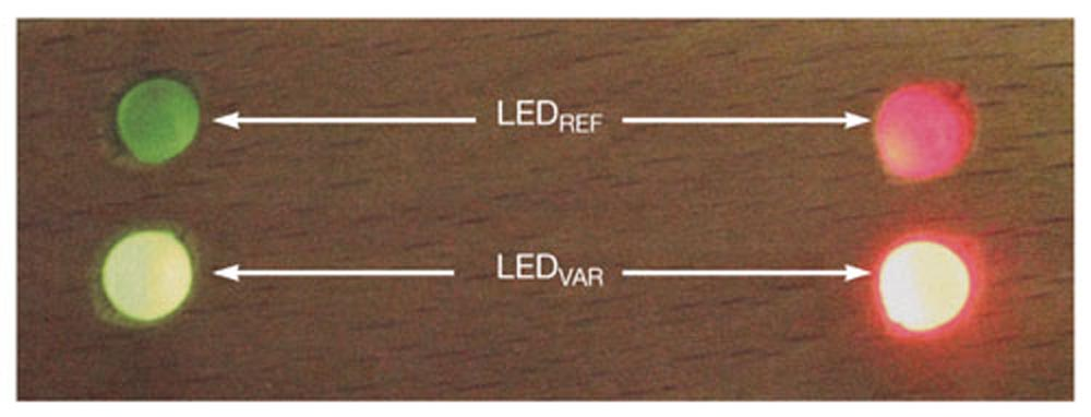 Simple battery-status indicator uses two LEDs