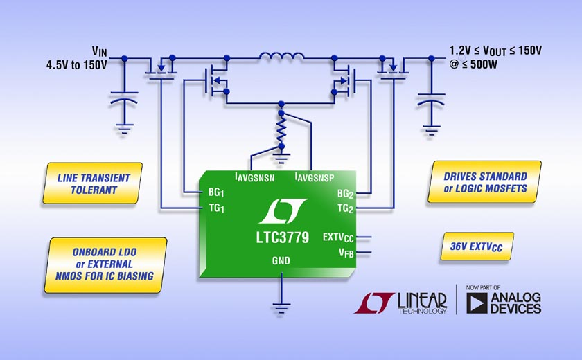 150V Synchronous Buck-Boost Controller Eliminates Surge Protection Devices & Delivers Up to 99% Efficiency