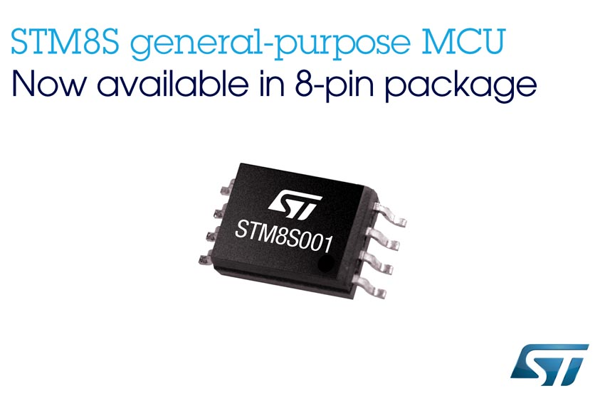 New 8-bit Microcontroller from STMicroelectronics Delivers Uniquely Flexible Feature Set in Space/Cost-Saving 8-Pin Package