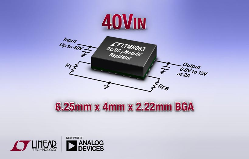 40VIN, 2A Silent Switcher μModule Regulator in 6.25mm x 4mm BGA Package