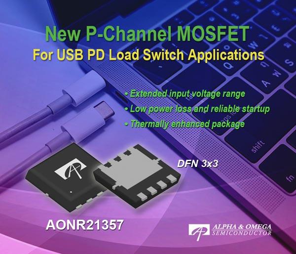 Alpha and Omega Semiconductor анонсировала новый P-канальный MOSFET для коммутаторов нагрузки портов USB PD