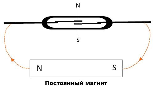 Срабатывание геркона под действием магнитного поля