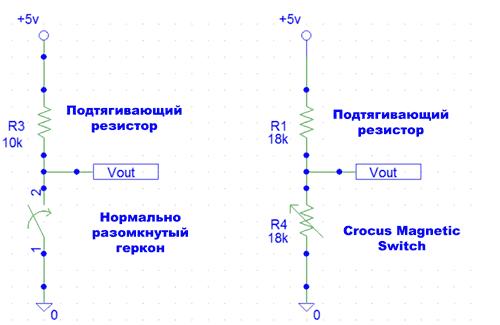 Отличие чувствительных элементов в реальном герконе и в CT51x