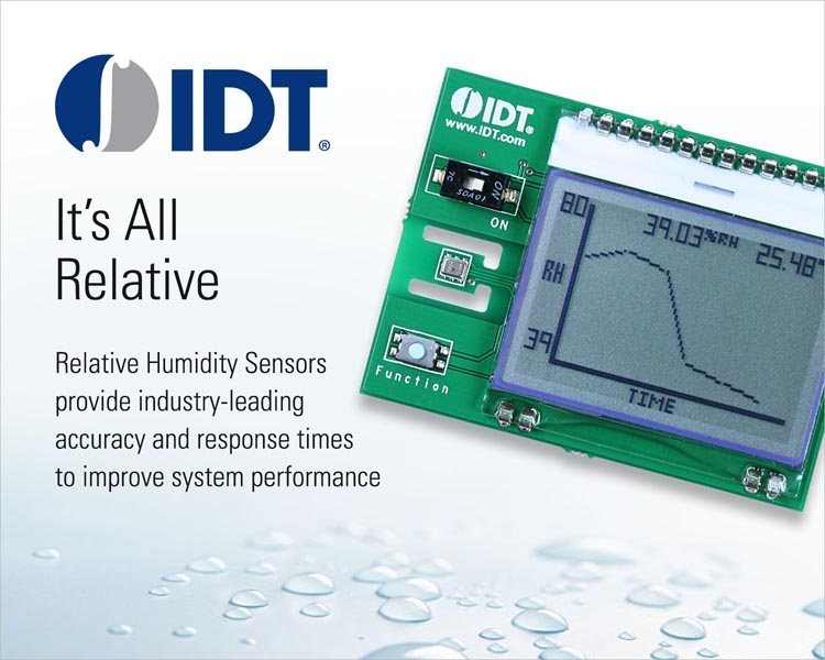 IDT Adds Humidity Sensors to Its Growing Portfolio of Industry-Leading Environmental Sensor Solutions