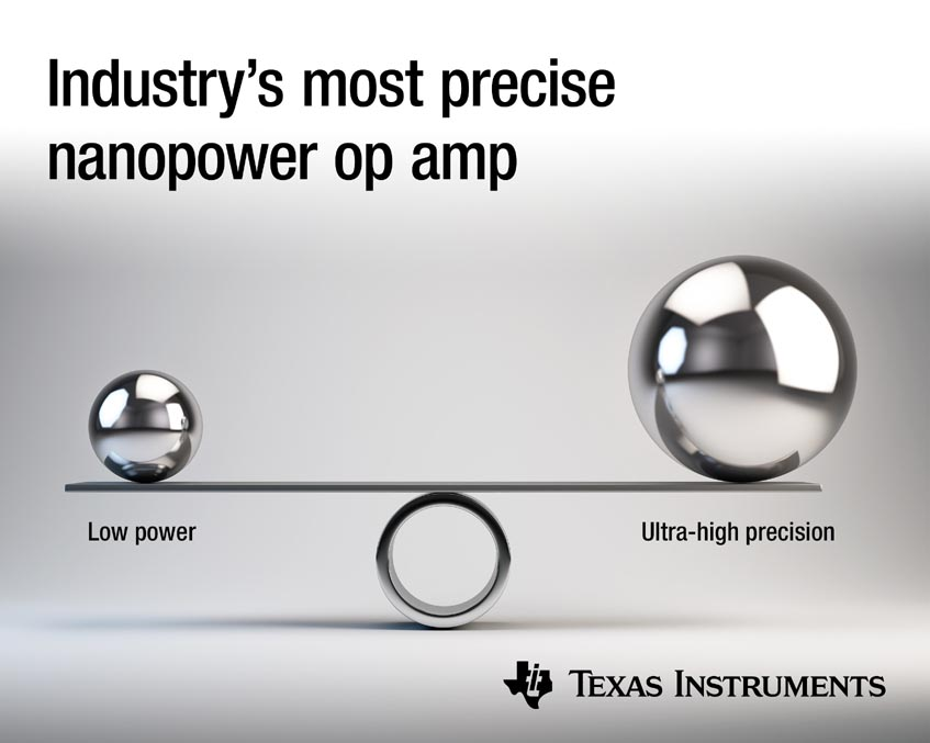 Industry's first zero-drift, nanopower amplifier combines ultra-high precision with the lowest power consumption